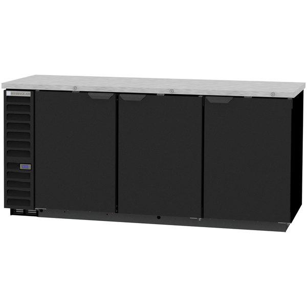 "Beverage-Air BB78HC-1-B 79"" Black Counter Height Solid Door Back Bar Refrigerator Main Image 1"