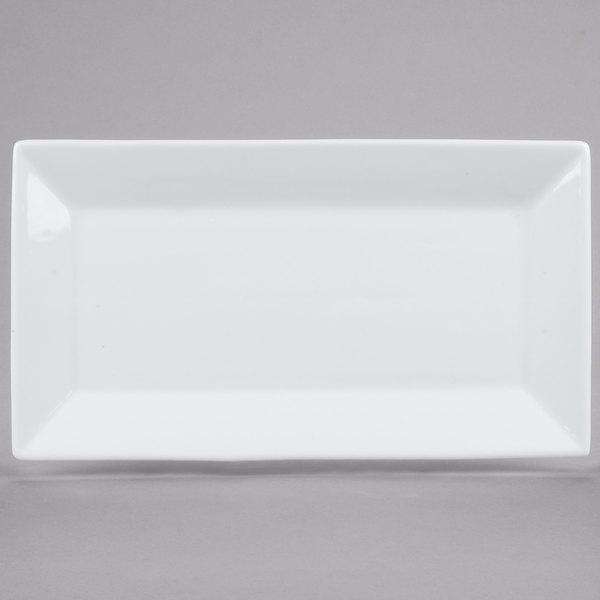 """Acopa 11 1/2"""" x 6 1/4"""" Bright White Rectangular Porcelain Platter - 12/Case"""