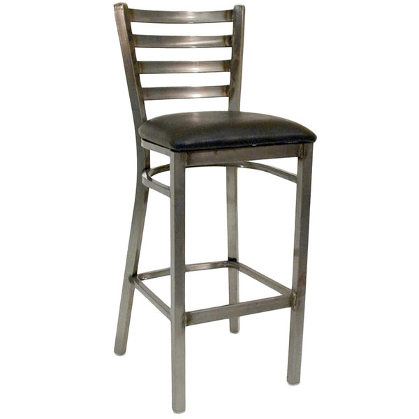 American Tables & Seating 77C-BS-BVS Clear Coated Ladder Back Metal Barstool Main Image 1