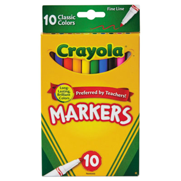 Crayola 587726 Assorted 10 Fine Point Non-Washable Markers