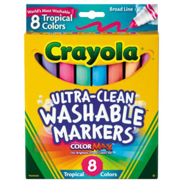 Crayola 587816 Ultra-Clean Assorted 8 Tropical Colors Conical Point Washable Marker Set
