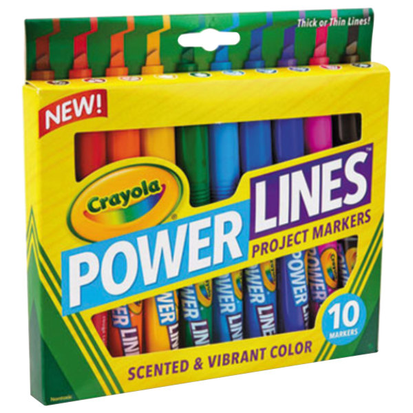 Crayola 588194 Powerlines Assorted 10 Color Scented / Washable Project Marker Set