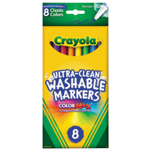Crayola 587809 Ultra-Clean Assorted 8 Color Fine Point Washable Marker Set