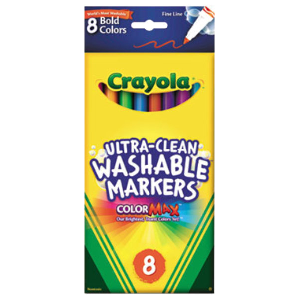 Crayola 587836 Ultra-Clean Assorted 8 Bold Color Fine Point Washable Marker Set