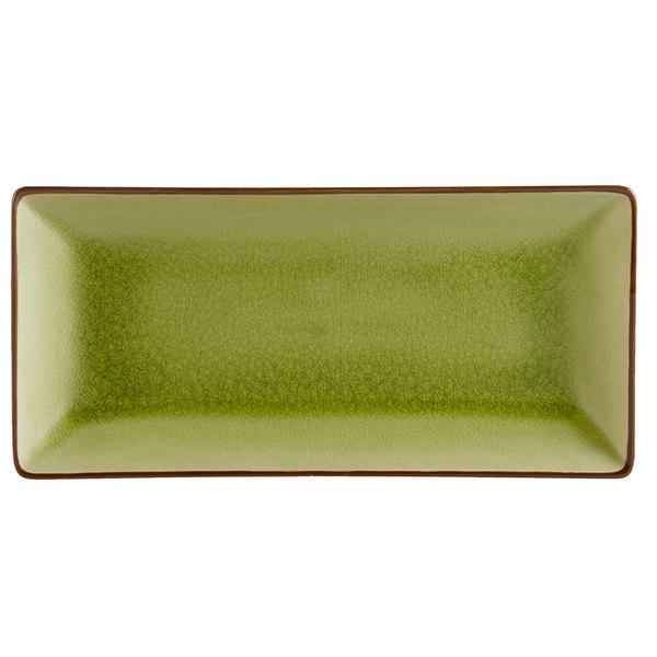"CAC 666-13-G 11 1/2"" x 6 1/2"" Japanese Style Rectangular China Plate - Black Non-Glare Glaze / Golden Green - 12/Case"
