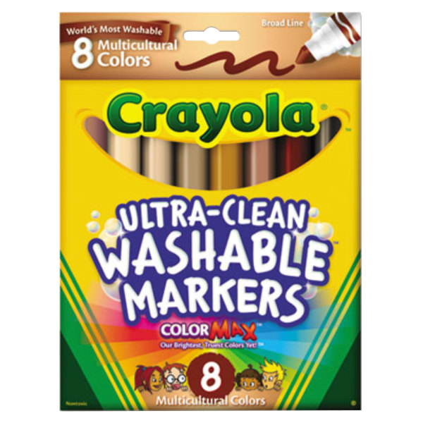 Crayola 587801 Ultra-Clean Assorted 8 Multicultural Color Conical Point Washable Marker Set