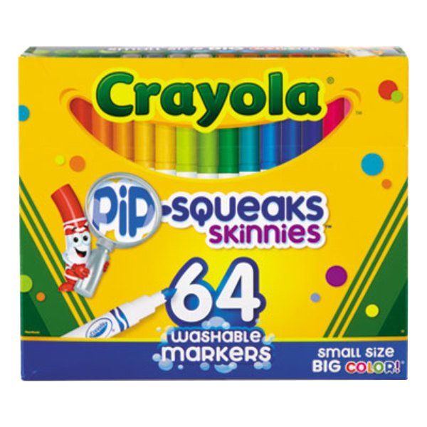 Crayola 588764 Pip-Squeaks Skinnies Assorted 64 Color Washable Marker Set
