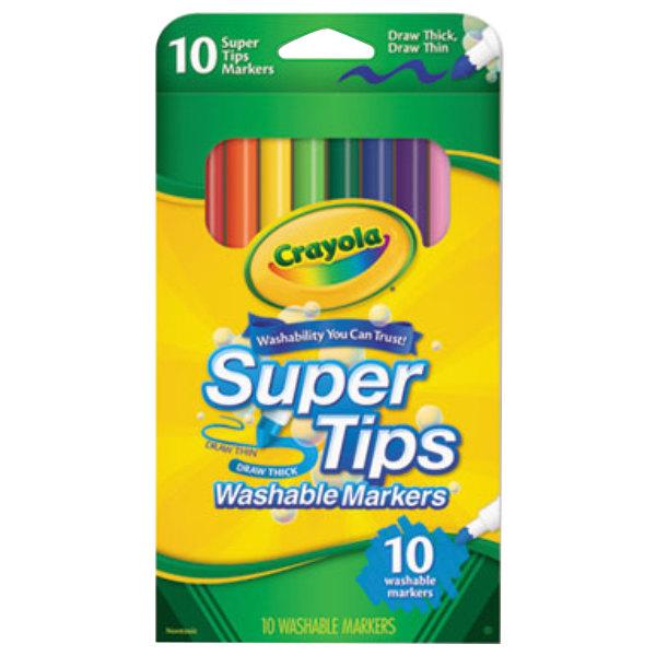 Crayola 588610 Super Tips Assorted 10 Color Washable Marker Set