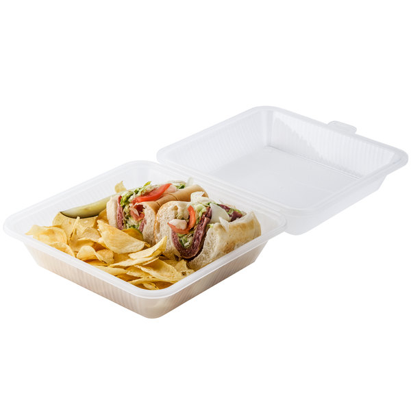 """GET EC-10 9"""" x 9"""" x 3 1/2"""" Clear Customizable Reusable Eco-Takeouts Container - 12/Case Main Image 4"""
