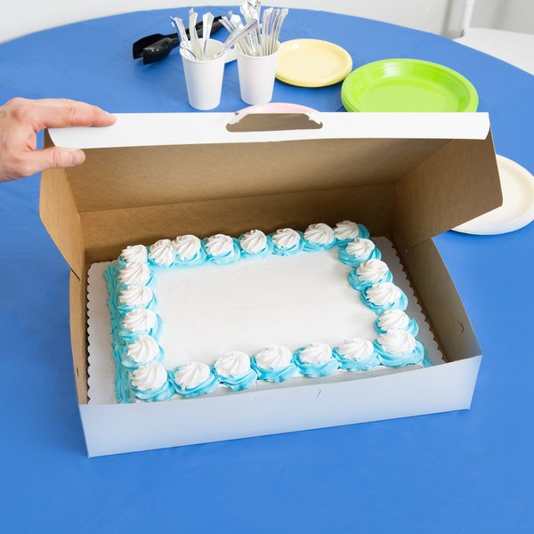 "Southern Champion 1029 19"" x 14"" x 4"" White Half Sheet Cake / Bakery Box - 50/Bundle"