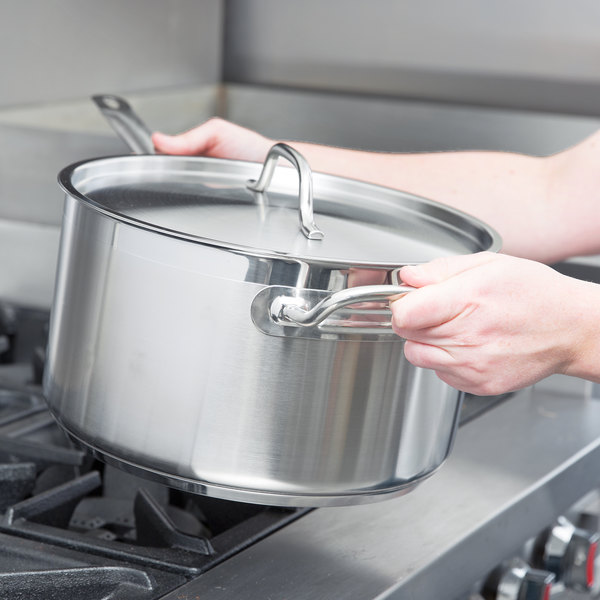 Vigor 10 Qt. Stainless Steel Aluminum-Clad Straight Sided Sauce Pan