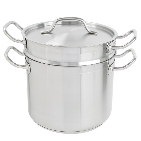 Melt Chocolate And Prepare Delicate Sauces Custards With This Vigor 8 Qt Stainless Steel Aluminum Clad Double Boiler