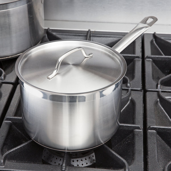 Vigor 4.5 Qt. Stainless Steel Aluminum-Clad Straight Sided Sauce Pan