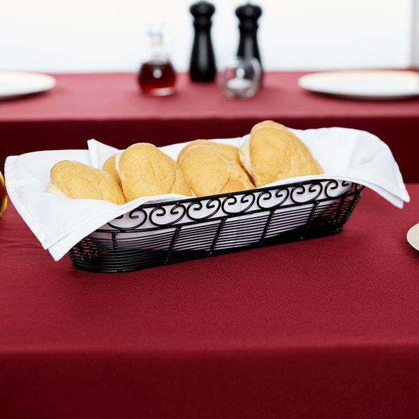 "Tablecraft BK21815 Mediterranean Oblong Black Metal Basket - 15"" x 6 1/4"" x 3"""