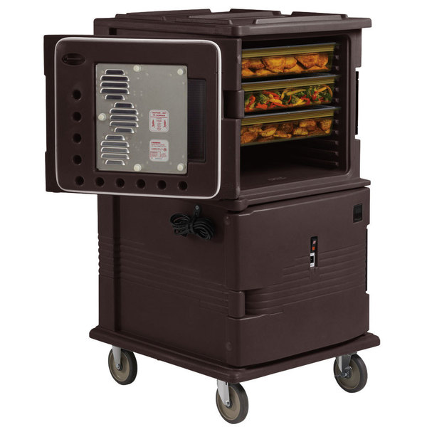 Cambro UPCH16002HD131 Dark Brown Ultra Camcart Two Compartment Heated Holding Pan Carrier with Heavy-Duty Casters - 220V (International Use Only)