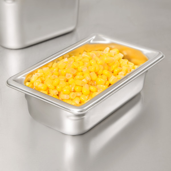 """Vollrath 30922 Super Pan V 1/9 Size Anti-Jam Stainless Steel Steam Table / Hotel Pan - 2"""" Deep"""
