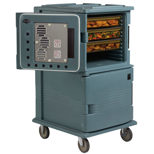 Cambro UPCHT16002HD401 Slate Blue Ultra Camcart Two Compartment Heated Holding Pan Carrier with Heavy-Duty Casters, Top Compartment Heated Only - 220V (International Use Only)