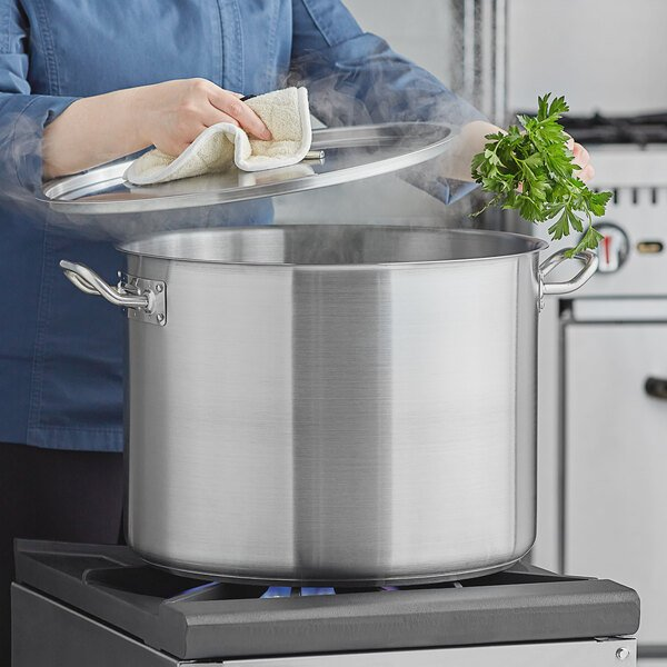 Vigor 40 Qt. Heavy-Duty Stainless Steel Aluminum-Clad Stock Pot with Cover Main Image 3