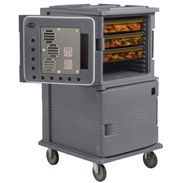 Cambro UPCHT1600HD191 Granite Gray Ultra Camcart Two Compartment Heated Holding Pan Carrier with Heavy-Duty Casters, Top Compartment Heated Only - 110V
