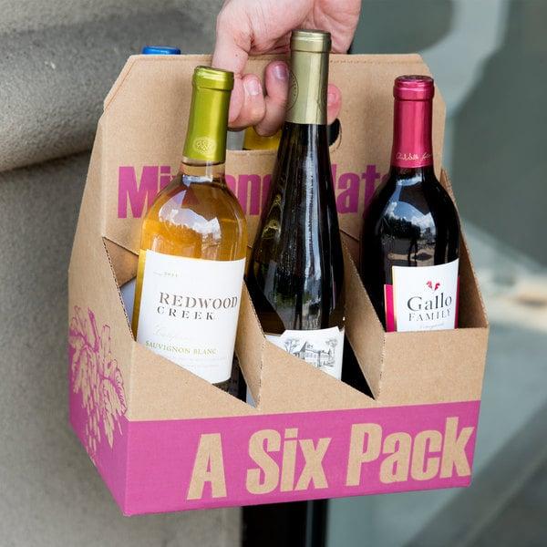 6 Pack Cardboard Wine Bottle Carrier - 50/Case Main Image 4