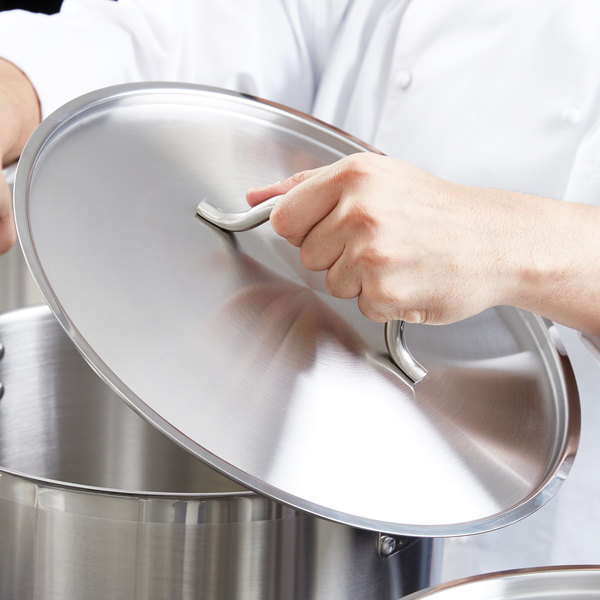 """Vigor 14"""" Stainless Steel Replacement Lid for 7 Qt. Saute Pan / 24 Qt. Stock Pot"""