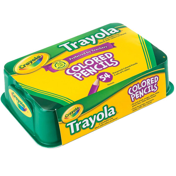 Crayola 688054 Trayola 54-Count 3.3mm Colored Pencil Set with 9 Assorted Colors