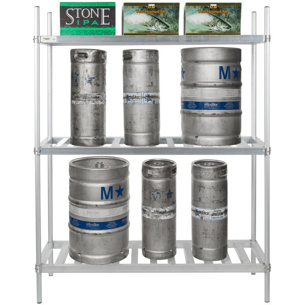 kegs and boxes stored on a shelving unit with three shelves