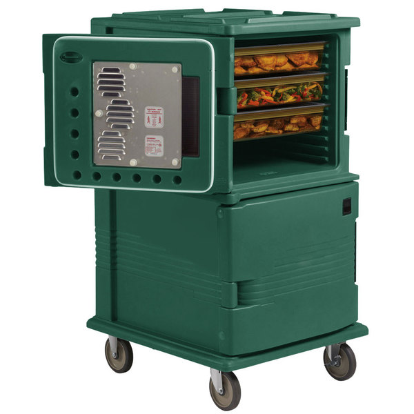 Cambro UPCHT1600HD192 Granite Green Ultra Camcart Two Compartment Heated Holding Pan Carrier with Heavy-Duty Casters, Top Compartment Heated Only - 110V