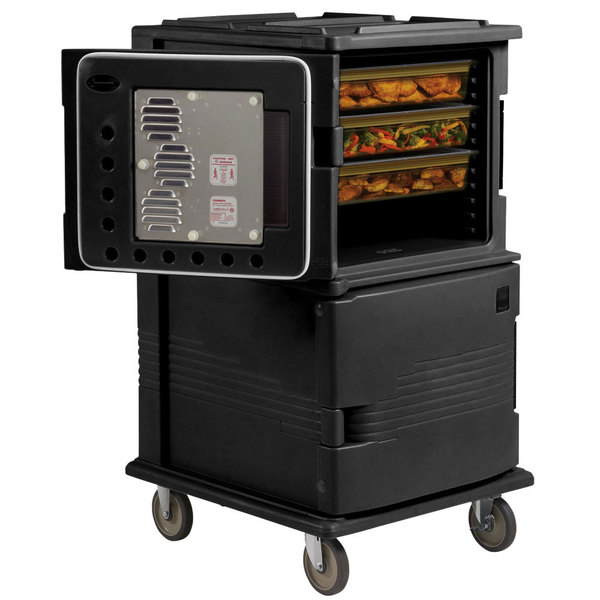 Cambro UPCHT1600HD110 Black Ultra Camcart Two Compartment Heated Holding Pan Carrier with Heavy-Duty Casters, Top Compartment Heated Only - 110V
