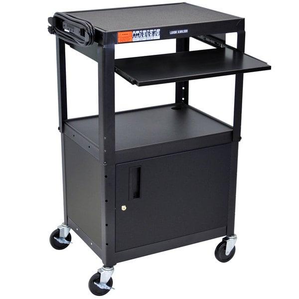 "Luxor AVJ42KBC Mobile Computer Cart / Workstation 24"" x 18"" with Locking Cabinet and Keyboard Shelf"