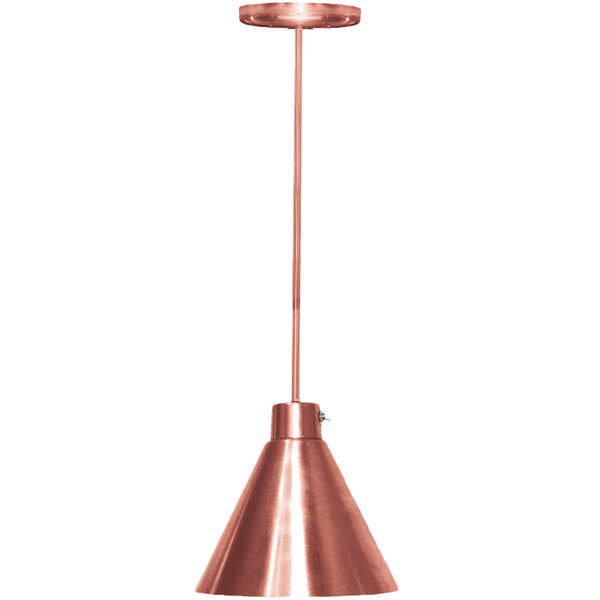 Hanson Heat Lamps 400-SMT-BCOP Rigid Stem Ceiling Mount Heat Lamp with Bright Copper Finish - 115/230V