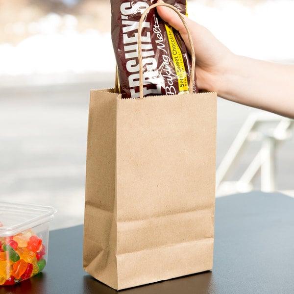 "Duro Gem Natural Kraft Paper Shopping Bag with Handles 5 1/4"" x 3 1/4"" x 8 3/8"" - 250/Bundle"