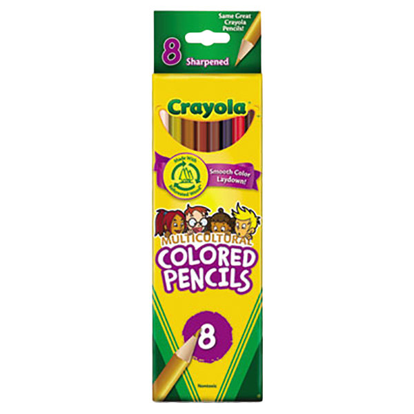 Crayola 684208 8-Color Assorted Multicultural 3.3mm Colored Pencil Set
