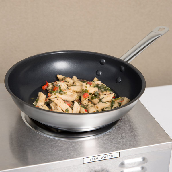"""Vigor 9 1/2"""" Non-Stick Stainless Steel Aluminum-Clad Fry Pan with Excalibur Coating"""