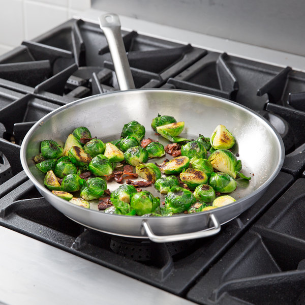 """Vigor 16"""" Stainless Steel Fry Pan with Aluminum-Clad Bottom and Helper Handle Main Image 4"""