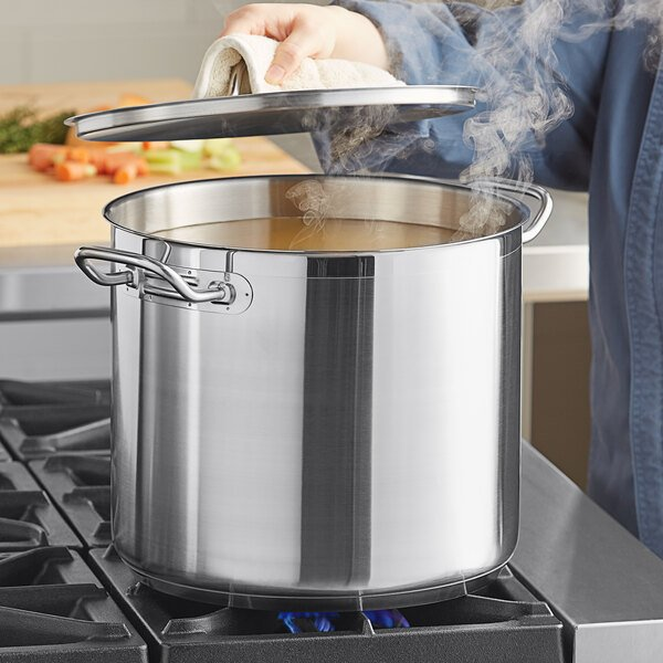 Vigor 20 Qt. Heavy-Duty Stainless Steel Aluminum-Clad Stock Pot with Cover Main Image 3