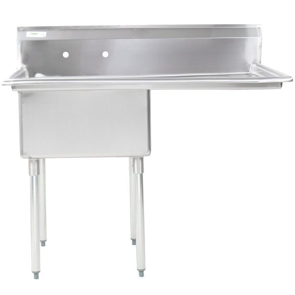 """Right Drainboard Regency 16 Gauge Stainless Steel One Compartment Commercial Sink with 1 Drainboard - 23"""" x 23"""" x 12"""" Bowl"""