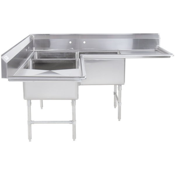 Regency 74 1 2 16 Gauge Stainless Steel Three Compartment Commercial Corner Sink With Two Drainboards 24 X 24 X 14 Bowls