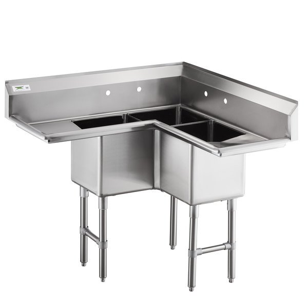 Regency 44 1 2 16 Gauge Stainless Steel Three Compartment Commercial Corner Sink With Two Drainboards 14 X 14 X 14 Bowls