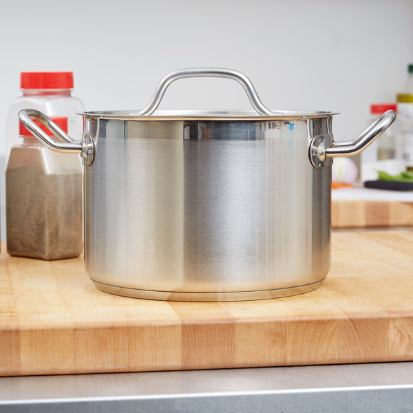 Vigor 8 Qt. Heavy-Duty Stainless Steel Aluminum-Clad Stock Pot with Cover
