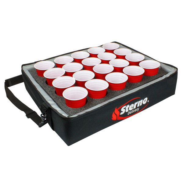 "Sterno Products 70544 24"" x 20"" x 6"" Stadium Insulated Drink Carrier with 20 Hole Insert - Holds (20) Cups"