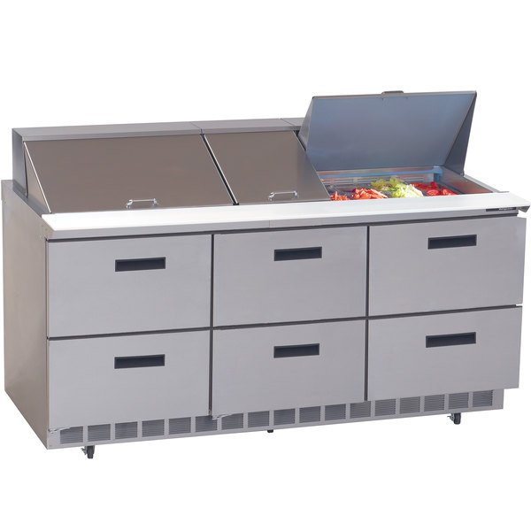 """Delfield UCD4472N-30M 72"""" 6 Drawer Mega Top Reduced Height Refrigerated Sandwich Prep Table"""