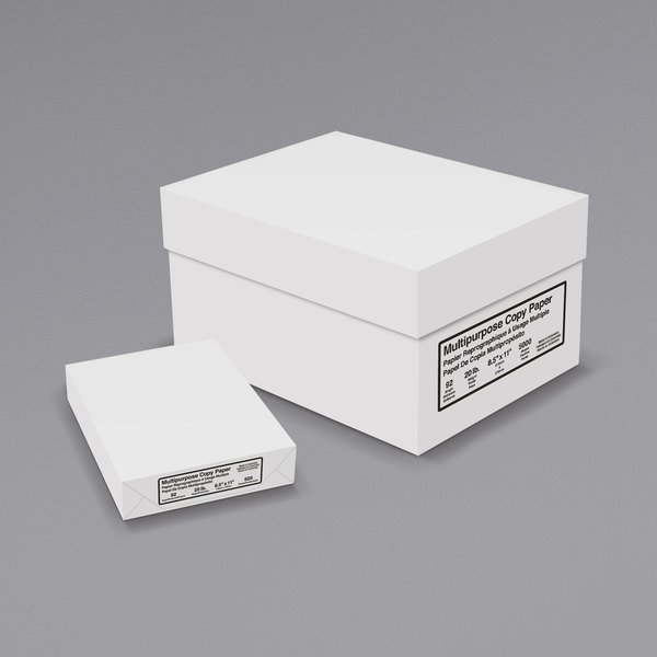 8 1/2 inch x 11 inch Bright White Ream of 20# Copy Paper - 500 Sheets