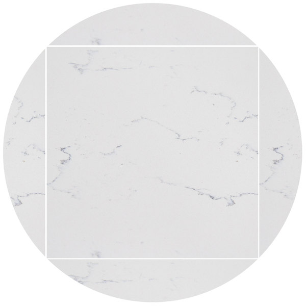 "Art Marble Furniture Q401 51"" Round / 36"" x 36"" Carrera White Drop Leaf Quartz Tabletop Main Image 1"