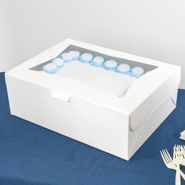 "Baker's Mark 19"" x 14"" x 6 1/2"" White Half Sheet Window Cake / Bakery Box - 50/Case Main Image 5"