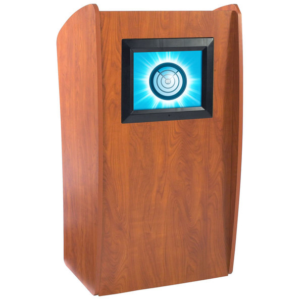 Oklahoma Sound 612-CH Light Cherry Finish Vision Floor Lectern with LCD Screen Main Image 1
