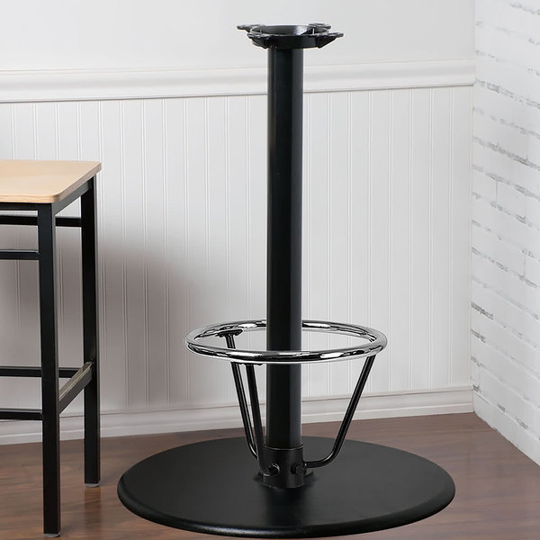 "Lancaster Table & Seating 30"" Round Black 3"" Bar Height Column Table Base with 16"" Foot Ring Main Image 4"