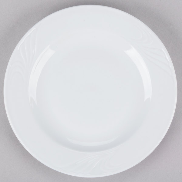 "CAC RSV-16 Roosevelt 10 1/4"" Super White Porcelain Plate - 12/Case Main Image 1"