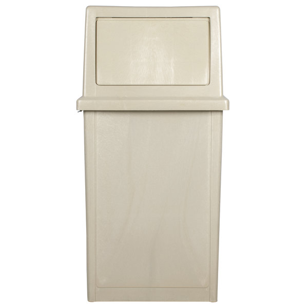 Continental 5735BE King Kan 35 Gallon Beige Waste Receptacle with Hinged Lid Set