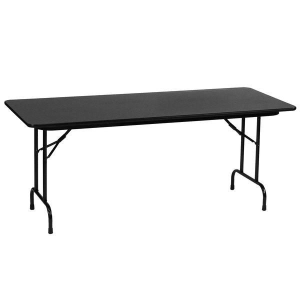 "Correll CF2496PX07 24"" x 96"" Black Granite High Pressure Heavy Duty Folding Table Main Image 1"
